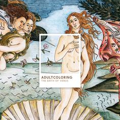 The Birth of Venus (1483-1485) by Sandro Botticelli adult coloring page | free image by rawpixel.com Free Adult Coloring Pages, Cute Coloring Pages, Free Illustrations, Illustration Art, The Birth Of Venus, Drawing Sketches, Drawings, Famous Artists, Sandro