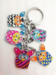 """top 2 furby boom 5"""" cute owl compact #travel keychain great gift idea key ring from $0.99"""