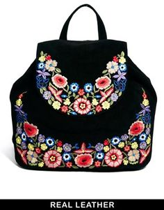 ASOS Leather Backpack With Flower Embroidery