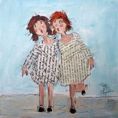 Abstract Art Paintings 606367537311124183 - Les twins Source by franoiseroquefo Art Du Collage, Collage Art Mixed Media, Les Twins, Art Fantaisiste, Naive Art, Pop Art, Whimsical Art, Oeuvre D'art, Textile Art
