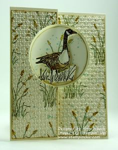handmade card from The Stampin' Schach: outside look at circle flip card ... Wetlands stamp set ... great texture from embossing folder over repeated stamping of beach grass ... Canadian goose on the flipping circle ... watercolor ... great card!! ... Stampin' Up!