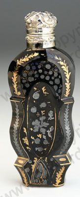 ANTIQUE & VINTAGE SCENT PERFUME BOTTLES. French gilded black opaline, silver gilt top, early to mid 19th century. To visit my website click here: http://www.richardhoppe.co.uk or for help or information email us here: info@richardhoppe.co.uk