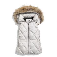 the coach legacy puffer vest : removable fur trim