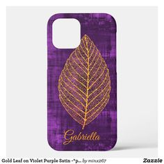 Gold Leaf on Violet Purple Satin -*personalize* Case-Mate iPhone Case New Iphone, Apple Iphone, Ipod Touch Cases, Unique Iphone Cases, Purple Satin, Artwork Design, Plastic Case, Gold Leaf, Autumn Leaves