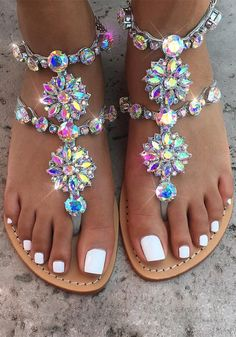 This trendy Crystal and Rhinestone ankle Bracelet Sandals is a great accessory for any occasion! All Sandals On Sale LIMITED TIME ONLY! Bracelet Sandals are the Bling Sandals, Cute Sandals, Summer Sandals, Shoes Sandals, Silver Wedding Shoes, Silver Shoes, Sandals Wedding, Strappy Block Heels, Flat Gladiator Sandals