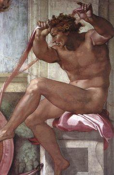 Ignudo, Michelangelo Buonarroti, Cappella Sistina, Roma 1511