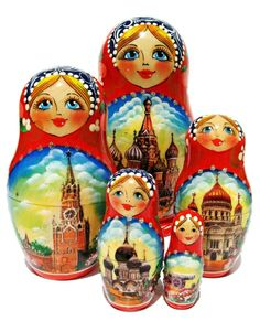 Most famous sights of Moscow are now displayed on this beautiful set of Russian nesting dolls.  Each matryoshka doll is hand painted and features one historic sight in Moscow. The most vibrant and con