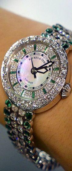 The Backes Strauss Harrods Princess ~ 27th Anniversary Watch w Diamonds and Emeralds