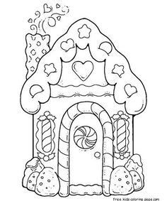Gingerbread House Printable Coloring Pages For Kidsfree Online Preschool