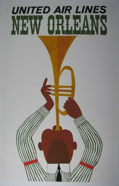 Vintage Art Poster ☮~ღ~*~*✿⊱  レ o √ 乇 !! ~ New Orleans - United Air Lines