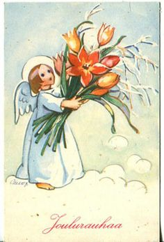 Vintage Martta Wendelin Christmas Card Vintage Christmas Cards, Christmas Images, Christmas Art, Vintage Cards, Victorian Angels, Girl Face Drawing, Angel Cards, Winter Art, Scandinavian Christmas