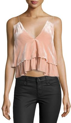 Apiece Apart Sandro Velvet Tiered Slip Top