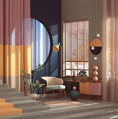 Memphis Design – 5 Reasons you should consider this trend that made a huge comeback from the Home Interior Design, Interior Architecture, Interior And Exterior, Interior Decorating, Architecture Geometric, Memphis Design, Design Apartment, Deco Design, Bauhaus