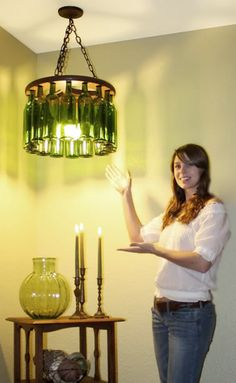 recycled wine bottle (or any bottle) chandelier from That House On The Corner