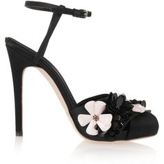Giambattista Valli Embellished satin sandals ($388) ❤ liked on Polyvore featuring shoes, sandals, обувь, black, strappy high heel sandals, black strappy sandals, black strap sandals, high heel sandals and ankle strap shoes