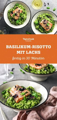Basil risotto with salmon - Rezepte: Pasta, Gnocchi & Co. - Simple basil risotto with salmon The Effective Pictures We - Risotto Simple, Filet Mignon Chorizo, Whole 30 Recipes, Salmon Recipes, Carne, The Best, Easy Meals, Dinner Recipes, Food And Drink