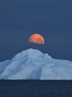 Midnight moon over the ice, Antarctic Sound by kristine hannon