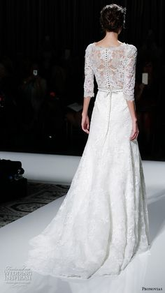 """Pronovias 2016 Wedding Dresses — New York Bridal Runway Show   Wedding Inspirasi   """"Timy"""" -- Lace, A-Line Bridal Gown Showcasing 3/4 Length Lace Sleeves, """"Sheer"""" Lace Bodice, Bateau Neckline, Crystal Sash/Belt At Natural Waist, Pretty Court Train..........................................."""