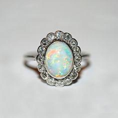 Elizabeth Rose Antiques 18ct white gold, platinum, Australian opal and diamond…