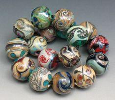 SJC Lampwork 17 handmade dichroic & silver glass round beads ~SRA~ USA~ #SJCLampwork #Lampwork