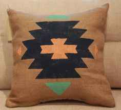 Burlap Pillow  Aztec Tribal Pillow  Made to by TwoPeachesDesign, $32.00 - PICK YOUR OWN COLORS!