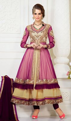 Cream and Violet Georgette Net Layered Anarkali Suit Price: Usa Dollar $133, British UK Pound £78, Euro98, Canada CA$145 , Indian Rs7182.