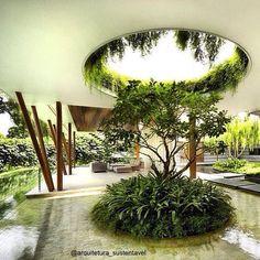 Quando a arquitetura e o paisagismo estão em perfeita sincronia.  Fonte: Não…