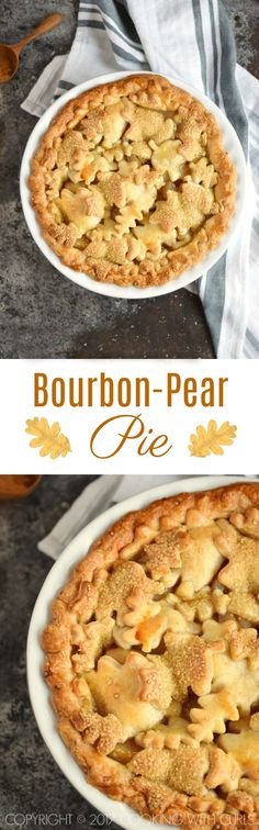 This Bourbon-Pear Pie is sure to impress your friends and family with it's glistening leaf cut-out crust, tender pears, and spiced filling! COPYRIGHT ©️️ 2017 COOKING WITH CURLS