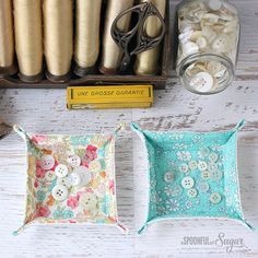 Charm Square Fabric Tray Sewing Tutorial by A Spoonful of Sugar