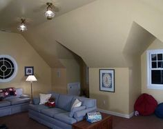 Stylish Contemporary Residence Applying Modern Soft Color Design: Unique Attic Ceiling And Wall Concept Of Whidbey Island Residence Family R...