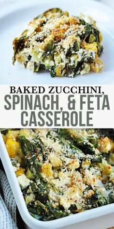 Baked Zucchini, Spinach, and Feta Casserole - this dish packs a hearty dose of vegetables, so healthy and flavour. Made with parmesan and low-fat feta. This recipe also utilizes whole-wheat bread crum Vegetable Recipes Easy Healthy, Healthy Vegetables, Veggies, Low Fat Vegetarian Recipes, Recipes With Vegetables, Garden Vegetable Recipes, Keto Recipes, Grilled Vegetable Salads, Vegetarian Main Dishes