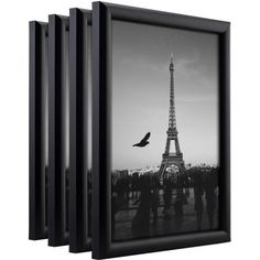 Craig Frames Bullnose Contemporary Black Composite Picture Frame, Set of 4