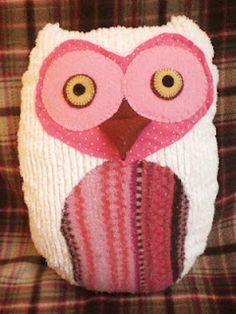 Mrs Hoot Hoot, handmade stuffed owl, for girls who like pink