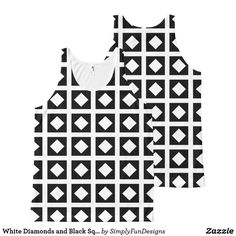 White Diamonds and Black Squares All-Over-Print Tank Top