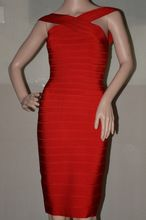 Free Shipping 2016 Summer New Style Red Heavy High Quality Rayon Bandage Dress Herv(China (Mainland))