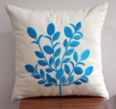 Blue Throw Pillow Cover, Beige Linen Pillow Blue Tree Embroidery, Cushion Cover, Home Decor, Embroidered Pillow, Floral Pillow, Bedding
