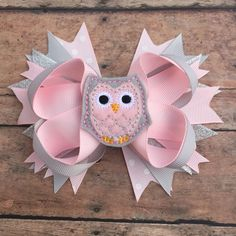 Owl Hair Bow - Owl - Owl Hair Clip - Owl Bow - Pink and gray Owl - Felt Owl Bow - baby girl bow - Toddler hairbow - pink and gray by BBgiftsandmore on Etsy
