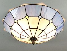 16Inch European Retro Style Tiffany Mediterranee Blue Stained Glass Flush Mount Ceiling Light Dining Room Light *** For more information, visit image link.