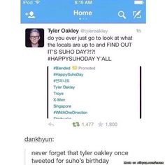 That time Tyler Oakley tweeted Suho's birthday.