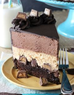 Peanut Butter Chocolate Mousse Layer Cake is like Reese's Peanut Butter Cups in cake form