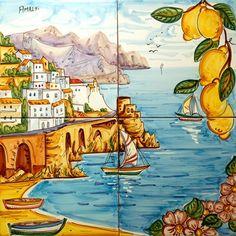 Amalfi with Lemons and Flowers - Tile set with Landscapes - Amalfi Coast Ceramics