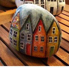 Houses - painted rock Pebble Painting, Pebble Art, Stone Painting, Painted Rocks Craft, Hand Painted Rocks, Painted Stones, Building Painting, House Painting, Stone Crafts