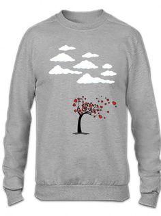 heart tree 1 blue Crewneck Sweatshirt