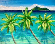 Vibrant Tropical Art & Creations by Jenn Payne Tropical Art, Tropical Paradise, Flotsam And Jetsam, Angel Warrior, Palm Trees, Original Paintings, Vibrant, Colours, Sunset
