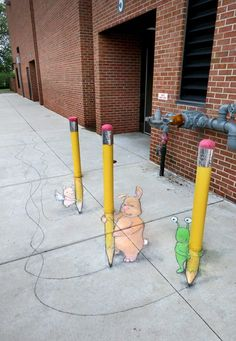 "May 2018 ""Three my anamorphic chalk art demonstration for students in Schaumburg, IL and my first ever attempt at a bollard-to-pencil trifecta. (Helped greatly by the handmade erasers created by art teacher Donna Wiskirchen.) For a walkaround view, go. Murals Street Art, 3d Street Art, Street Art Graffiti, Graffiti Artists, David Zinn, Pavement Art, Urbane Kunst, Sidewalk Chalk Art, Chalk Drawings"