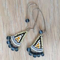 Bijoux créateur. boucles d'oreille en perles de verre miyuki delica