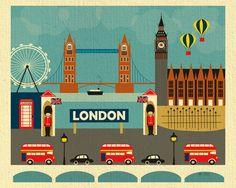London retro travel poster – Loose Petals