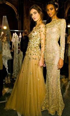 Not the golden girls...these gowns are meant to flatter a woman's curves with elegance & Sophistication. By Designer Zuhair Murad has combined sillk chiffon splattered in tiny gold lame blossoms, very chic - brought to you by http://dedeannasimplepleasures.blogspot.com/