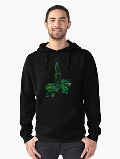 """""""Plantain, floral art, wild plants, summer greenery, green & black"""" Pullover Hoodies by clipsocallipso 