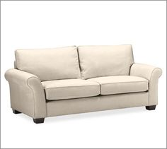 PB Comfort Roll Upholstered Box-Edge Cushion Sofa Performance Fabrics   Pottery Barn